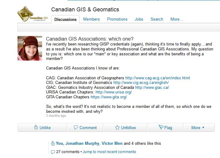 Canadian GIS Associations discussion on LinkedIn - Screenshot